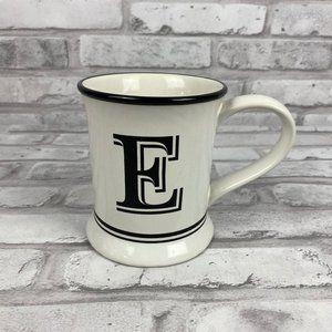 E Initial  Coffee Mug Black White